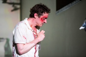 Hugh O'Conor in Arlington. Landmark Productions and Galway International Arts Festival present Arlington a new play by Enda Walsh. World premiere 11 July in a specially-constructed theatre space at Leisureland, Salthill, Galway. Photo by Patrick Redmond